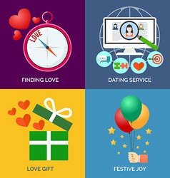 Set of flat design concept icons Finding love vector image vector image