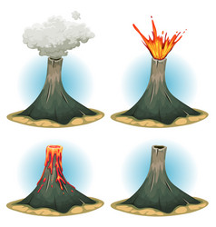 volcano mountains set vector image