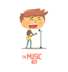 boy playing guitar and siging young musician vector image