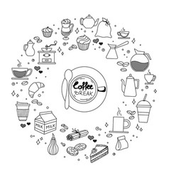 coffee and cake time doodles hand drawn sketchy vector image vector image