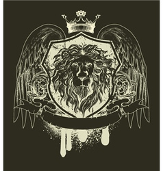 Grunge t-shirt design with shield vector