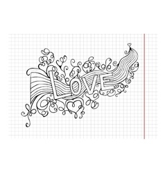 heart birth love with rainbow Hand-drawn vector image