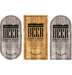 label beer with the old town on wooden background vector image