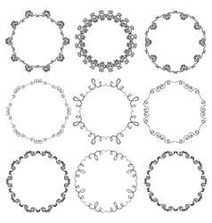 Collection of hand drawn ornamental circle frames vector image vector image