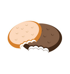 colorful set bite cookies icon food vector image