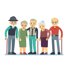 Group of old people cartoon characters happy vector