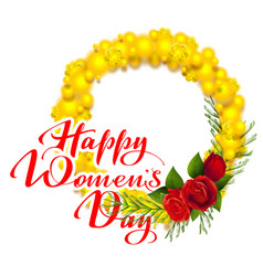 happy womens day text greeting card yellow mimosa vector image vector image