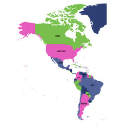 political map of americas in four colors on white vector image