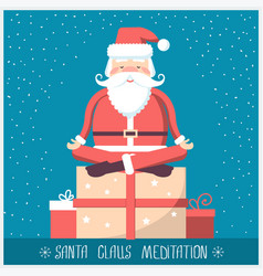 santa claus doing yoga meditation and sitting on vector image