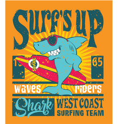shark west coast surfing team vector image vector image