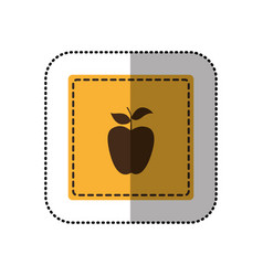 yellow emblem apple fruit icon vector image vector image