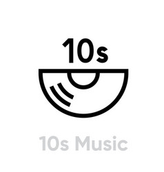10s music vinyl icon editable line vector