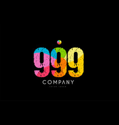 999 number grunge color rainbow numeral digit logo vector image