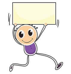 A boy holding an empty signage vector image