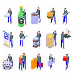 Addiction icons set isometric style vector