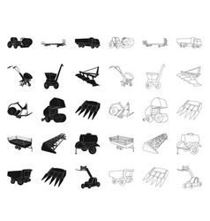 Agricultural machinery blackoutline icons in set vector