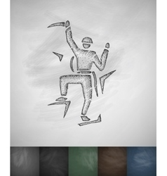 alpinist icon Hand drawn vector image