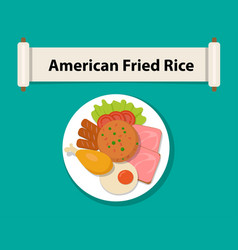 American fried rice in flat styletop view vector