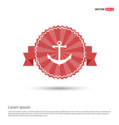 anchor icon - red ribbon banner vector image
