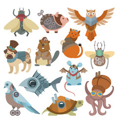 Animals steampunk animalistic characters in vector