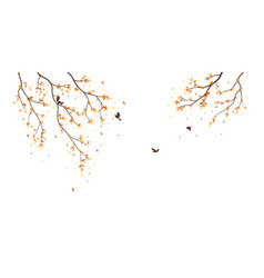 Autumn season with falling leaves with bird vector