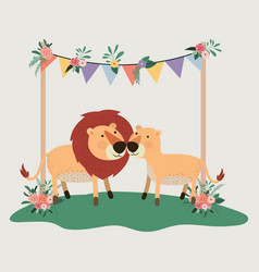 baby shower card with cute lions couple vector image