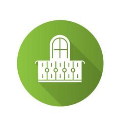 balcony green flat design long shadow glyph icon vector image