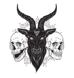 Baphomet demon goat head and human skulls hand vector