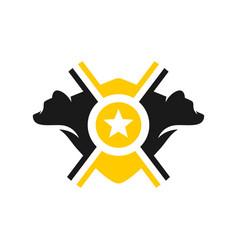 Bear two heads shield logo design vector