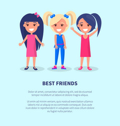 Best friends three girls poster of active females vector