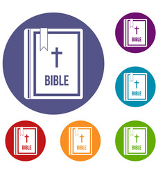 bible icons set vector image