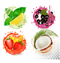 big group fruit in juice splash icons mint and vector image