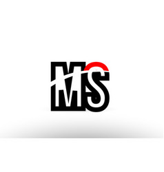 black white alphabet letter ms m s logo icon vector image