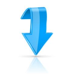 Blue down 3d button vector