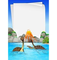 Brachiosaurus swimming in the lake vector