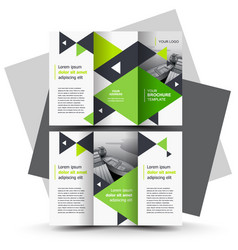 Brochure design template tri-fold green vector