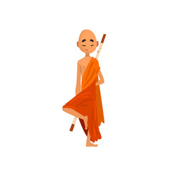 buddhist monk cartoon character in orange robe vector image