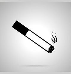 burning cigarette with smoke simple black icon vector image