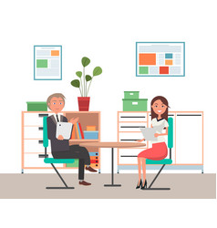business man and woman sit at table work vector image