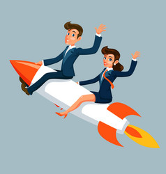 businessman and businesswoman fly to success vector image