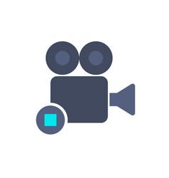 cam camera film movie record stop icon vector image