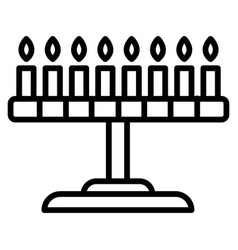 Candle jewish stand icon outline style vector