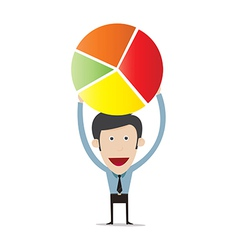 cartoon holding pie chart vector image