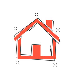 cartoon house icon in comic style home pictogram vector image