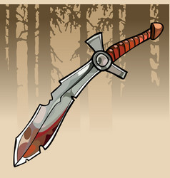 Cartoon jagged curve bloody sword in a forest vector