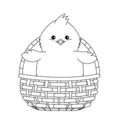 Chick in a wicker basket vector