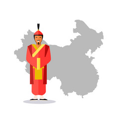 chine map and person wearing traditional clothes vector image