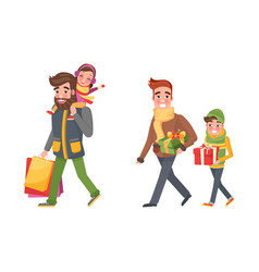 Christmas holiday shopping father and children vector