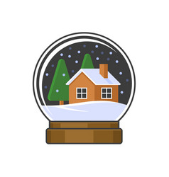 Christmas snow globe with home and trees vector