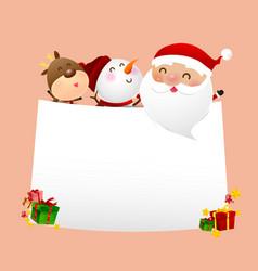 christmas snowman santa claus cartoon smile on vector image